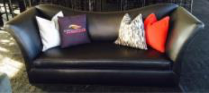 Black Leather Sloped Back Sofa