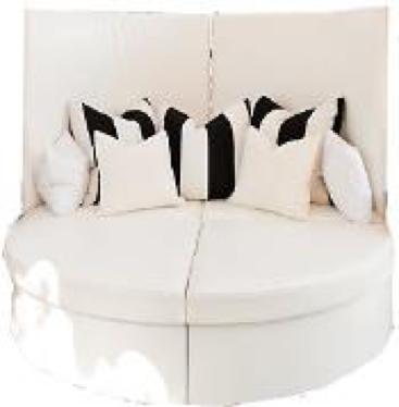 White Leather High Backed Bed