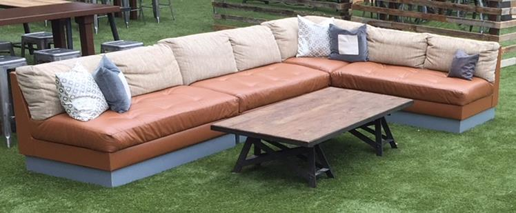 Camel Leather Sectional Sofa