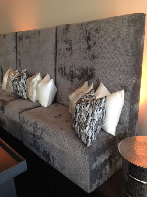 Grey Velvet High Backed Sofa