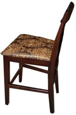Wood and Damask Bar Stool