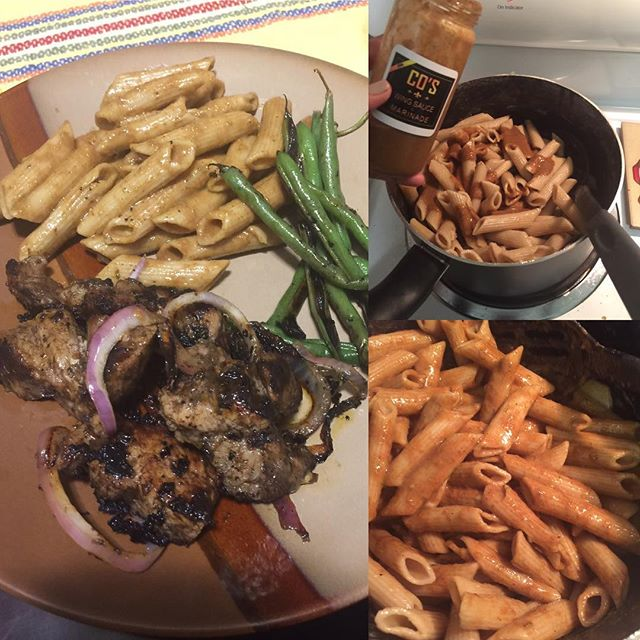 "Jerk Beef & Jerk Pasta with CO's Wing Sauce & Marinade in Jerk... GET YOUR SAUCE GAME UP!!!™ @coswingsauce ""CO's Wing Sauce & Marinade™"" is available for local pickup & shipping within the 50 States.  Use it on Beef, Chicken,Turkey, Pork, Fish or as a Dipping Sauce!  For Ordering: bellescws@gmail.com  Or Our Etsy Store: goo.gl/4zJjnp  Flavors: Buffalo, Mango Habanero & Jerk in 16oz or 8oz Sampler Sets and even custom sizes  WE PROMISE, YOU WONT BE DISAPPOINTED!  #COsWingSauce #TheSauceIsBoss #SupportBlackBusiness #NolaEats #NolaFood #NolaFoodie #NolaChef #WingSauce #Marinade #BBQSauce  #DrunkinCrewApproved #GetYourSauceGameUp"