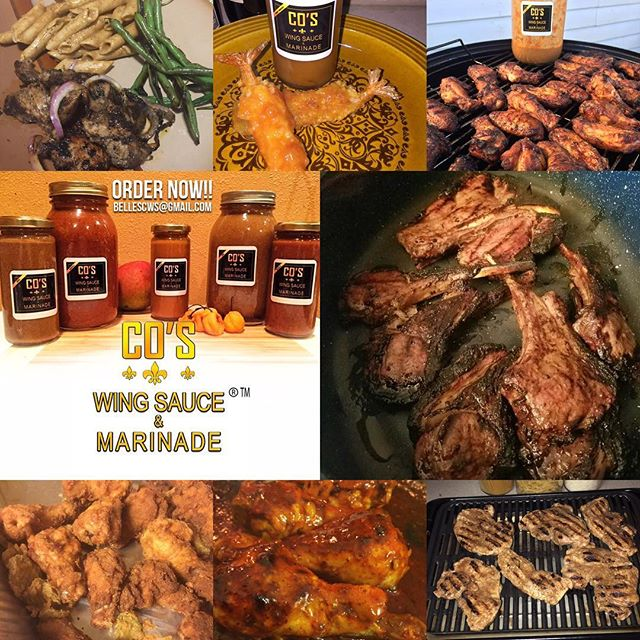 "Collage of pics from satisfied customers!!! GET YOUR SAUCE GAME UP!!!™ @coswingsauce ""CO's Wing Sauce & Marinade™"" is available for local pickup & shipping within the 50 States.  Use it on Beef, Chicken,Turkey, Pork, Fish or as a Dipping Sauce!  For Ordering: bellescws@gmail.com  Or Our Etsy Store: goo.gl/4zJjnp  Flavors: Buffalo, Mango Habanero & Jerk in 16oz or 8oz Sampler Sets and even custom sizes  WE PROMISE, YOU WONT BE DISAPPOINTED!  #COsWingSauce #TheSauceIsBoss #SupportBlackBusiness #NolaEats #NolaFood #NolaFoodie #NolaChef #WingSauce #Marinade #BBQSauce  #DrunkinCrewApproved #GetYourSauceGameUp"
