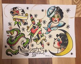 Tim will be doing these designs that were repainted from the collection of old-time tattooer Milton Zeis. He will be doing a page of hand painted flash each month and running a special on them, so be sure to keep your eyes peeled for the monthly sheet in case something you want comes up. You can contact Tim at the shop (605) 373-0123, or visit his webpage for more ways to contact him. www.timjewelltattooer.com. Follow him on instagram: @timjewelltattooer and follow us on instagram @permanentaddictionstattoo.