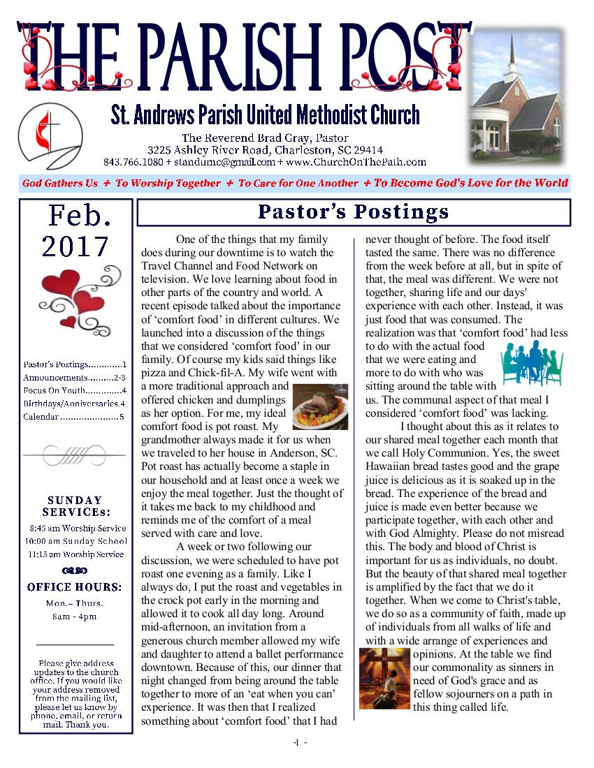 St. Andrews Parish United Methodist Church - February Newsletter