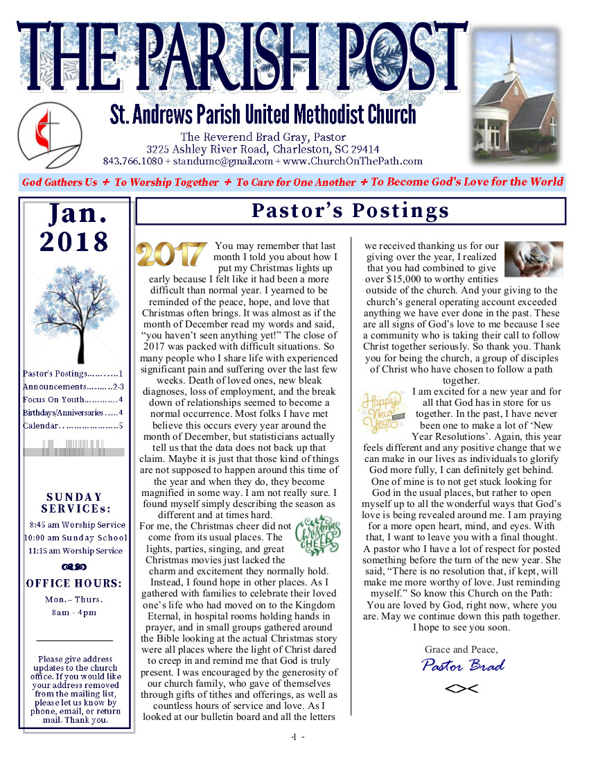 St. Andrews Parish United Methodist Church January Newsletter