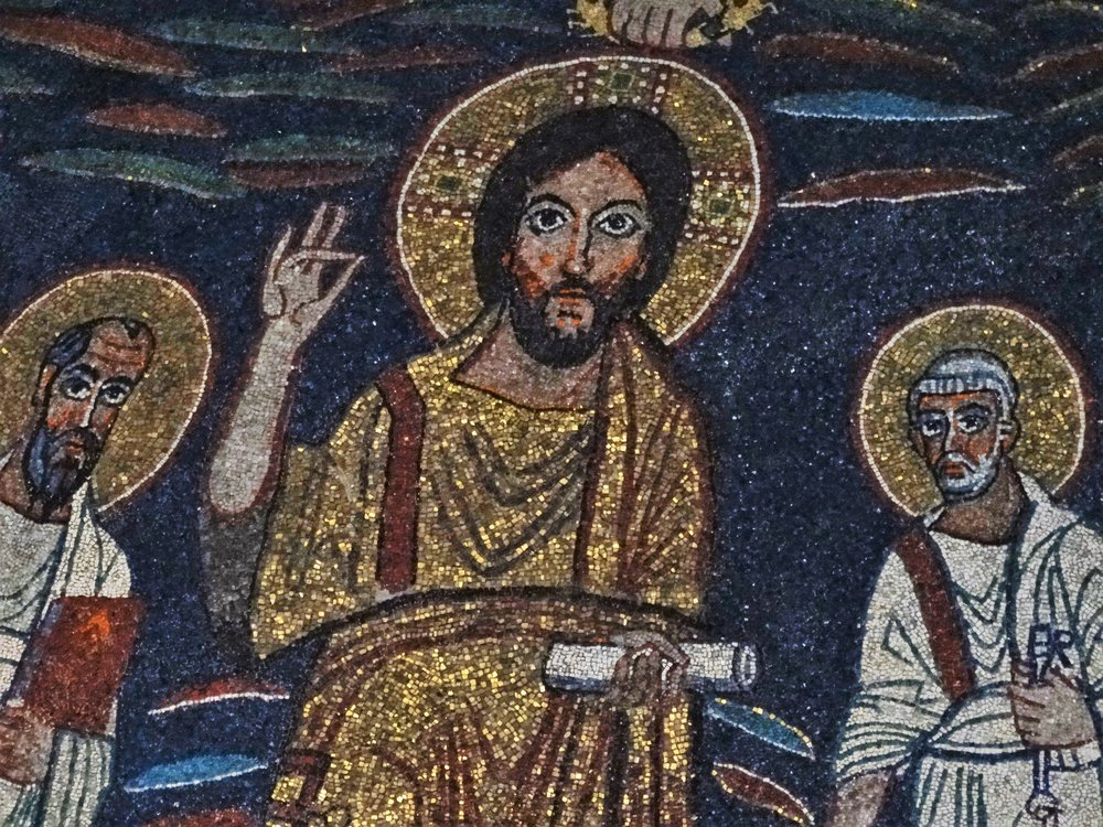 Colorful mosaic of Christ in the Santa Cecilia Church