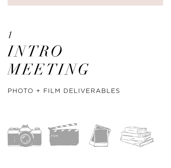 Come in to our studio space for a friendly get together where we'll catch up on life, see how wedding planning is coming along for you, and discuss the next step: your wedding photos and film! It's a bit scary — we know — so we're here to help ease the anxiety and educate you on the best services and products that will suit all your needs.