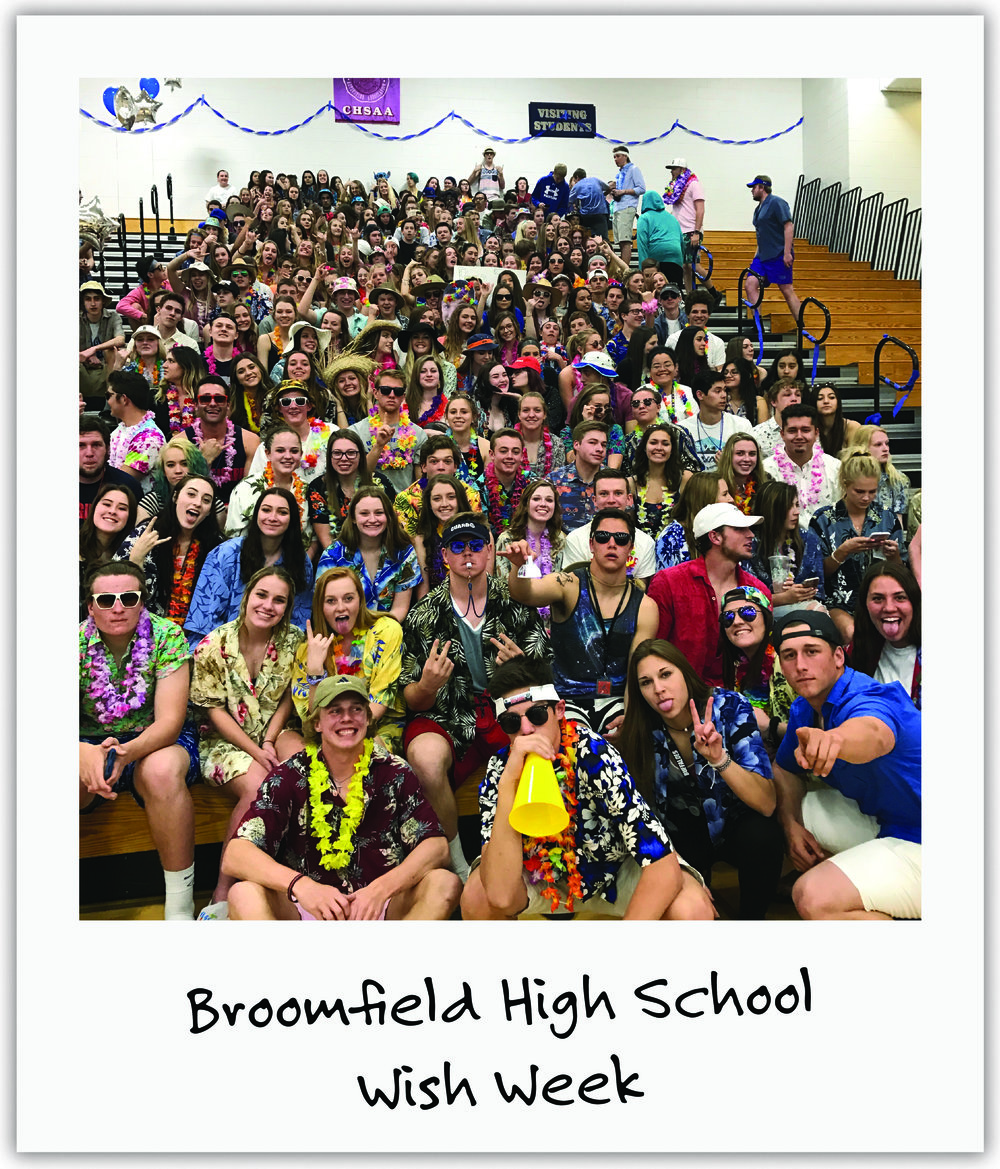 Colorado's Broomfield High School dedicated their school-wide Wish-Week to Mila, including a teacher basketball game that gathered thousands and local media.