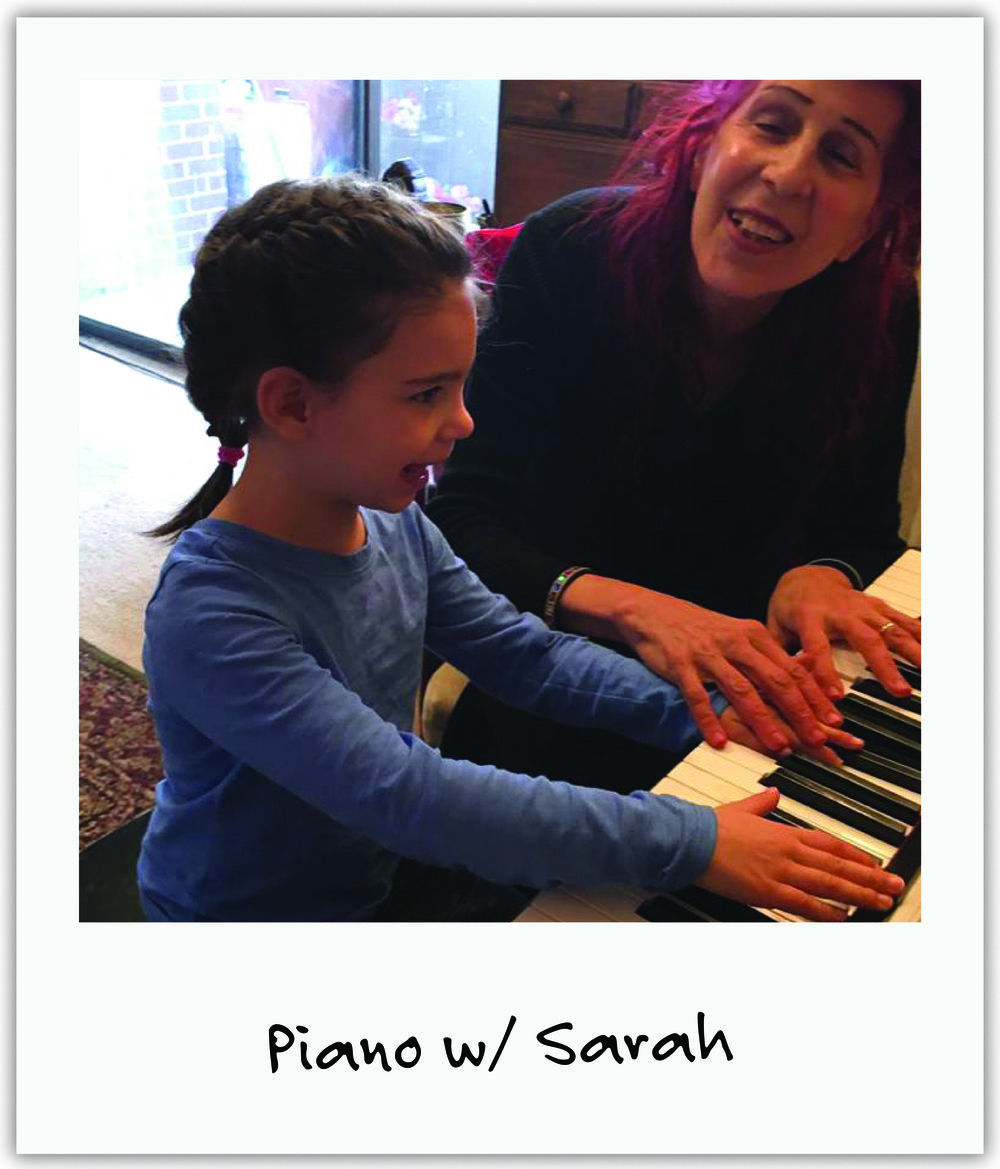 Extraordinarily talented and vivacious pianist Sarah H read about Mila in our local paper and offered the beauty of the piano to engage Mila's senses.