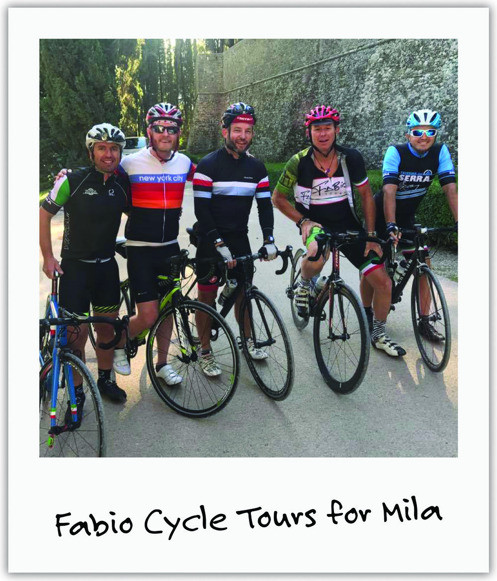 Chef and cyclist, Fabio,donated private cooking classes to our auctions and included our foundation logo on his cycling tour jerseys.
