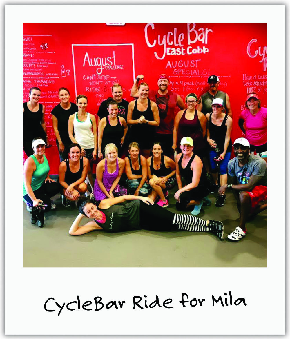 BFF Julie and her amazing Atlanta CycleBar community rode hard and fought hard for Mila and her treatment.
