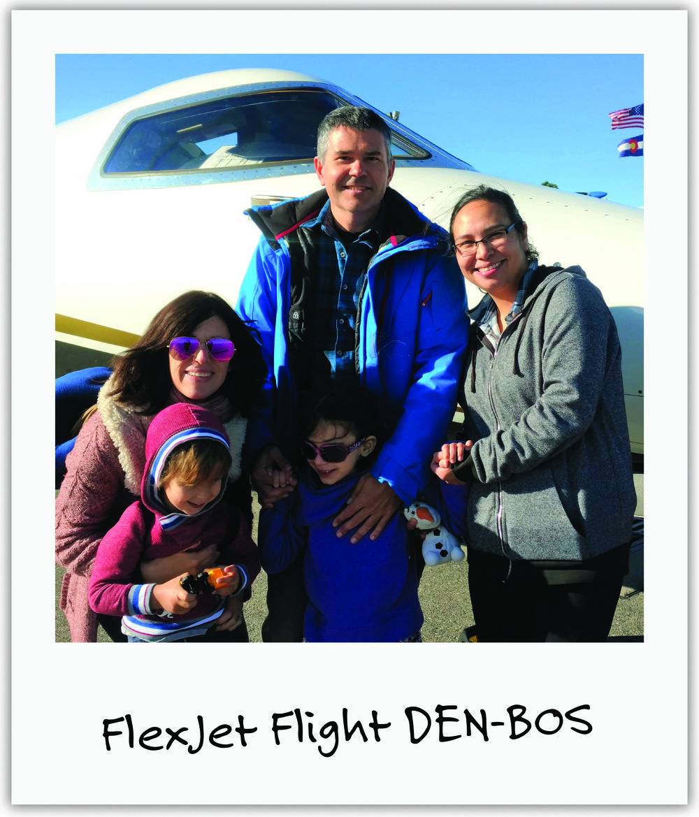 Corporate jet company, Flexjet, heard Mila's story and kindly offered to transport our entire family to Boston's hospital.