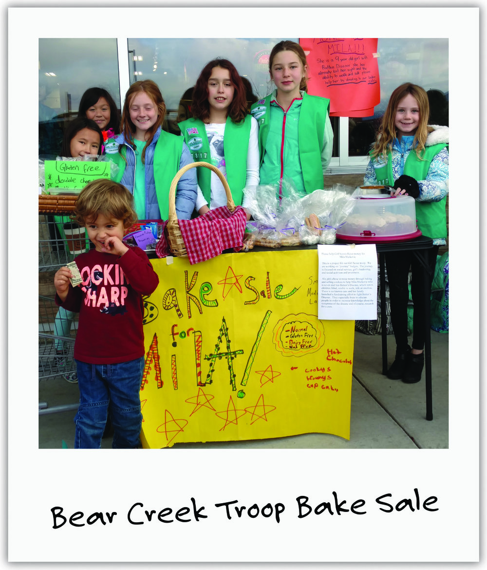 4th grade Girl Scouts from Colorado's Bear Creek Troop 73017 held a bake sale for our cause and earned their service badges!