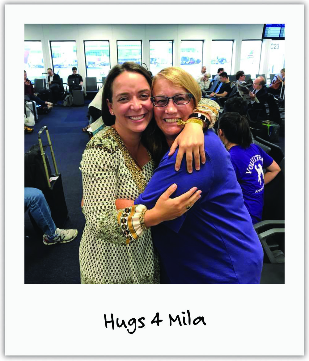 Mila's cousin Mary utilized her travels around the US by spreading Mila's story to strangers on video one hug at a time.