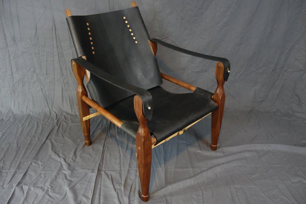 Walnut and leather safari chair