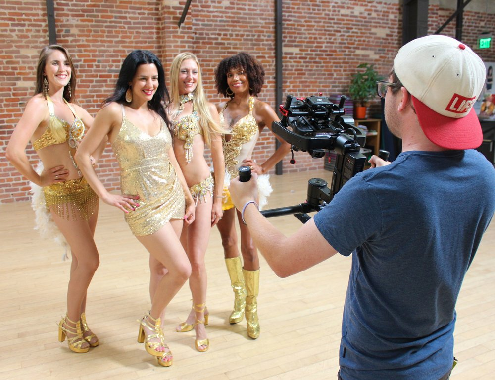 The company at work! Dancers in the Studio Filming. We love performing for all occasions!