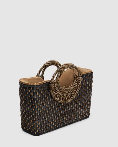 navy straw bag
