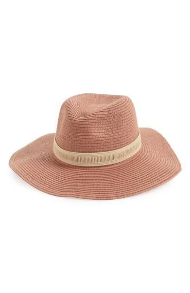 blush pink straw hat