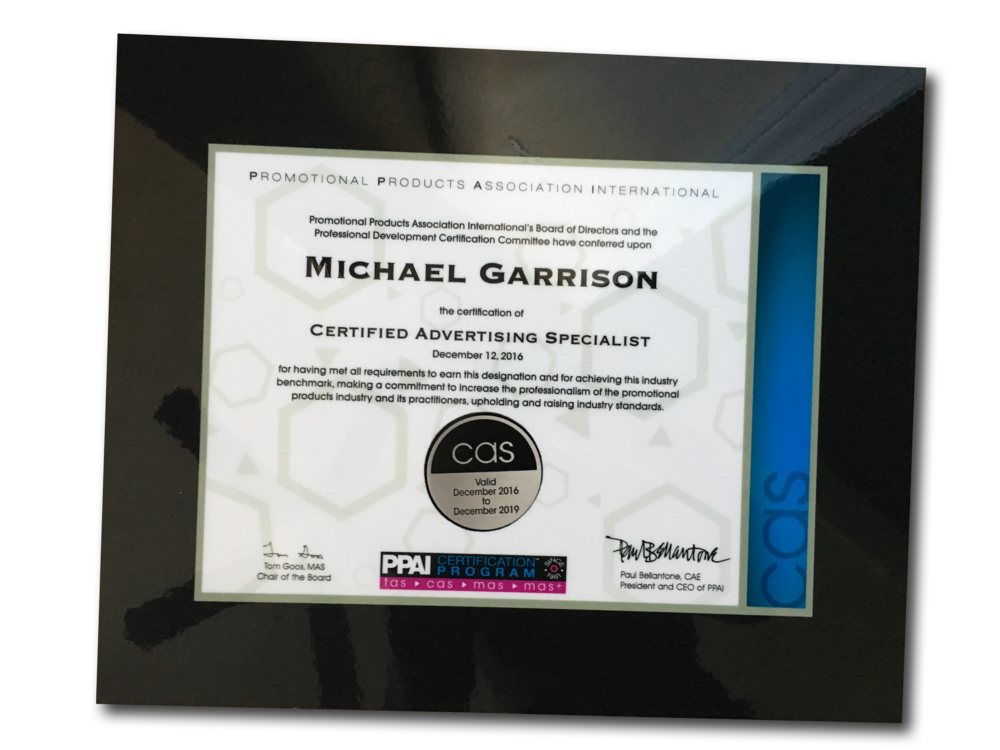Certifications Garrison Promotions Llc