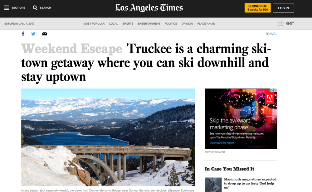 Los Angeles Times: Truckee is a charming ski-town getaway