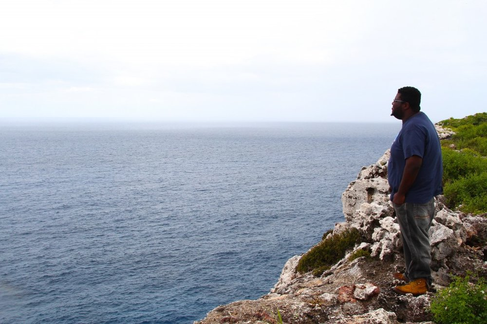 Bluff overlooking Caribbean with my tour guide