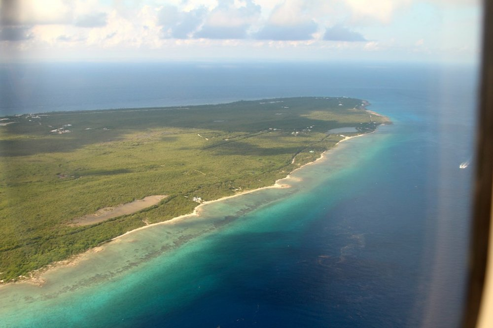Flying over Grand Cayman on the way to Cayman Brac
