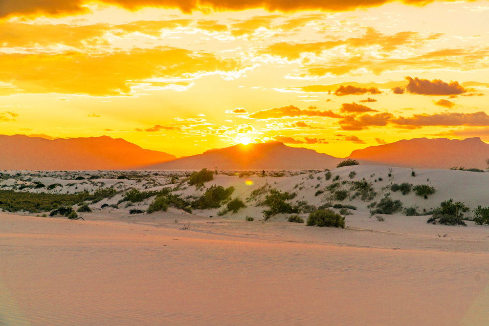 Sunset over White Sands National Monument