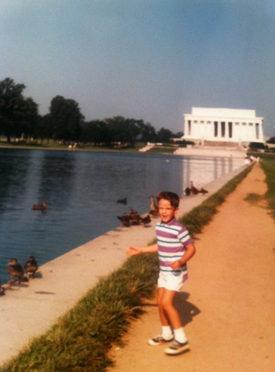 A younger version of myself, marching on the capitol, ready to take on the world (or at least take on the ducks).