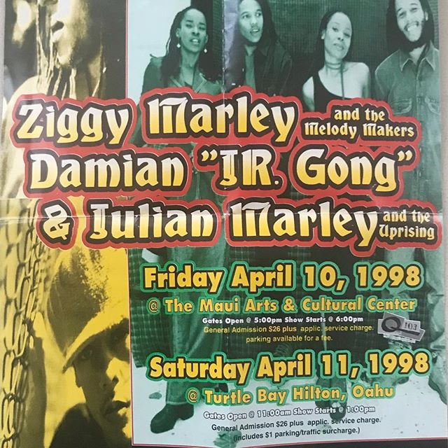 So many fond memories of my time living in Hawaii many many moons ago! With the blessings of fantastic music!  #ZiggyMarley #ziggymarleyandthemelodymakers  #DamienMarley #jrgong #JulianMarley #reggaeinthecountry #Hawaii #Ohau #northshore #localmotion #1998 #reggae #roots #givethanks #love @ziggymarley @damianmarley @stephenmarley @julianrmarley