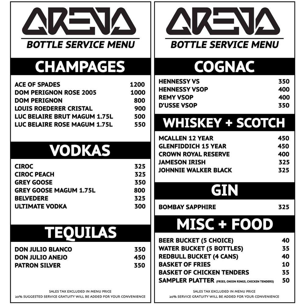 Arena Nightclub Bottle Service Menu