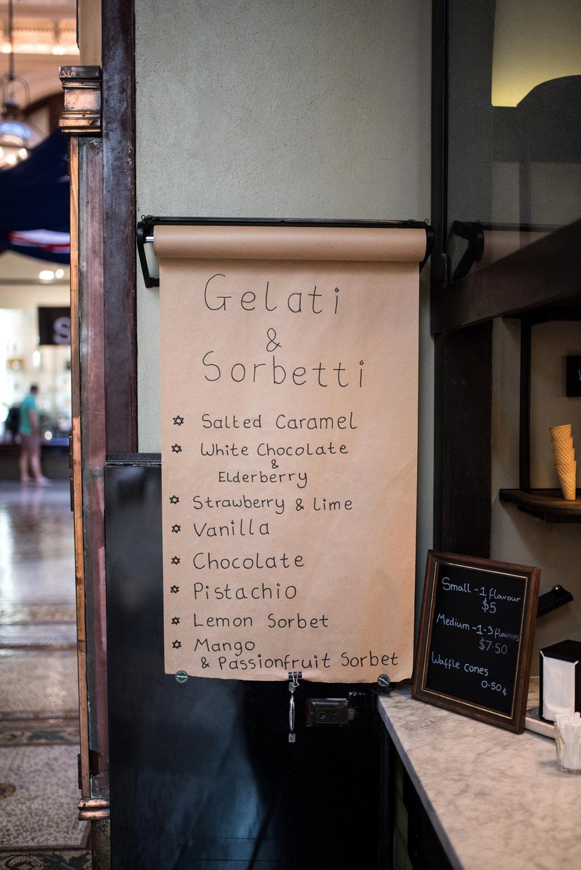 Barbarella gelati & sorbetti flavours