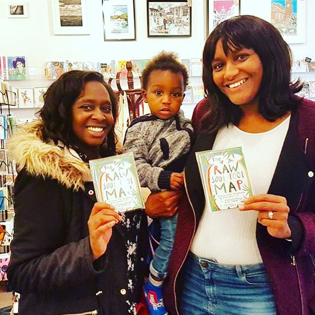 Siobhan, Nicole and baby Juwon get their The Raw Soul Food Map on Saturday at Diverse Gifts.