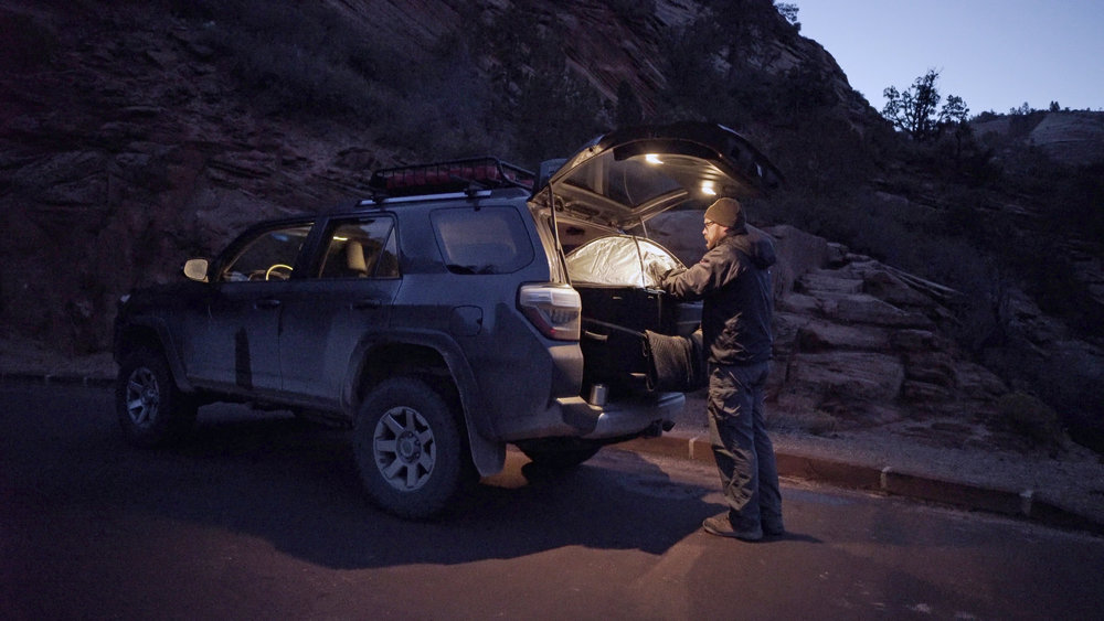 Loading film out of the back of my 4Runner on a chilly winter morning in Zion National Park. I use the same film changing tent both in the field, and at home when loading film before a trip.
