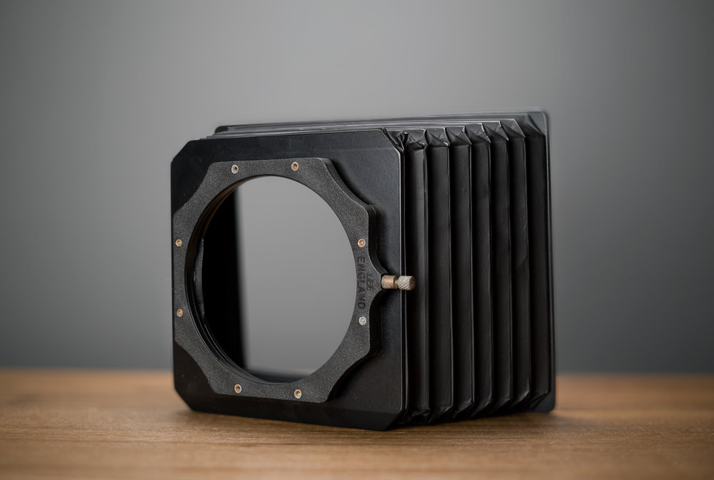 A rear view of my Lee hood which is a combination of their Wide Angle Filter hood with 2 slots, and their Push-On 100mm filter holder. This way the hood fits around the outer barrel of my large lenses.