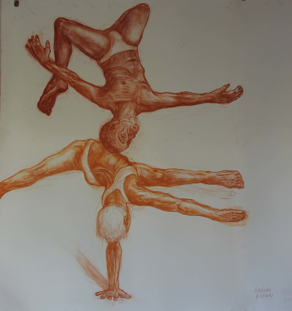 the tumblers,200x152cm ,conte on paper.jpg