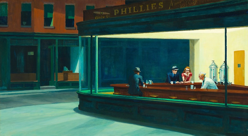 Nighthawks (1942)  by Edward Hopper. Currently on display at the Art Institute of Chicago.