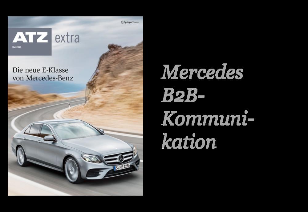 Das ATZextra vervollständigt die 360 Grad-Kommunikation von Mercedes zum Launch der neuen E-Klasse. Das Heft erhält ein herausnehmbares Poster und bindet auch digitale Inhalte ein.  > MEHR