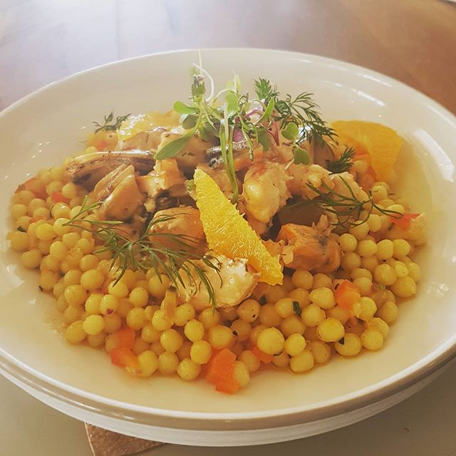 SPECIAL    Warm saffron pearl couscous with seafood! #tropiconorthbeach #couscous