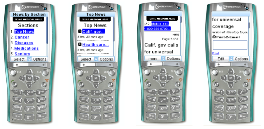 Texas Medical News was a news portal on SyndOut that was designed to run on feature phones. It featured text ads, smart pagination, and a print-to-email feature that would send a PDF or Flashpaper version to your inbox.