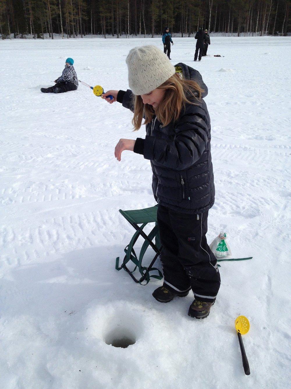 Ice-fishing kids