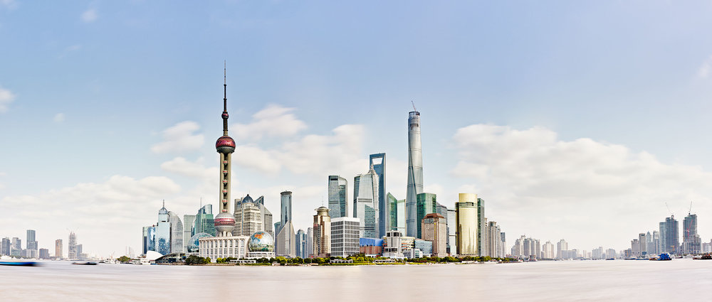 panorama view of skyscrapers in Shanghai China