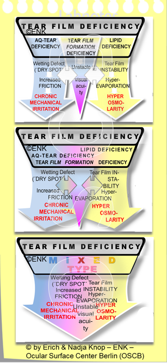 This very schematical diagram is supposed to indicate that the  Different Types of Tear Film Deficiency  that determine the Type of Dry Eye Disease  tend to mix with increasing severity of disease . This is conceivably due to the impairment of more and more functional complexes with downstream negative effects as the disease process proceeds, destroys for tissues and becomes more severe.