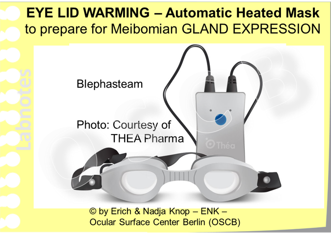 The BLEPHASTEAM Googles for automated application of exactly dosed heat together with moisture is probably the most well known type of MGD Googles Image: Courtesy of THEA Pharma..
