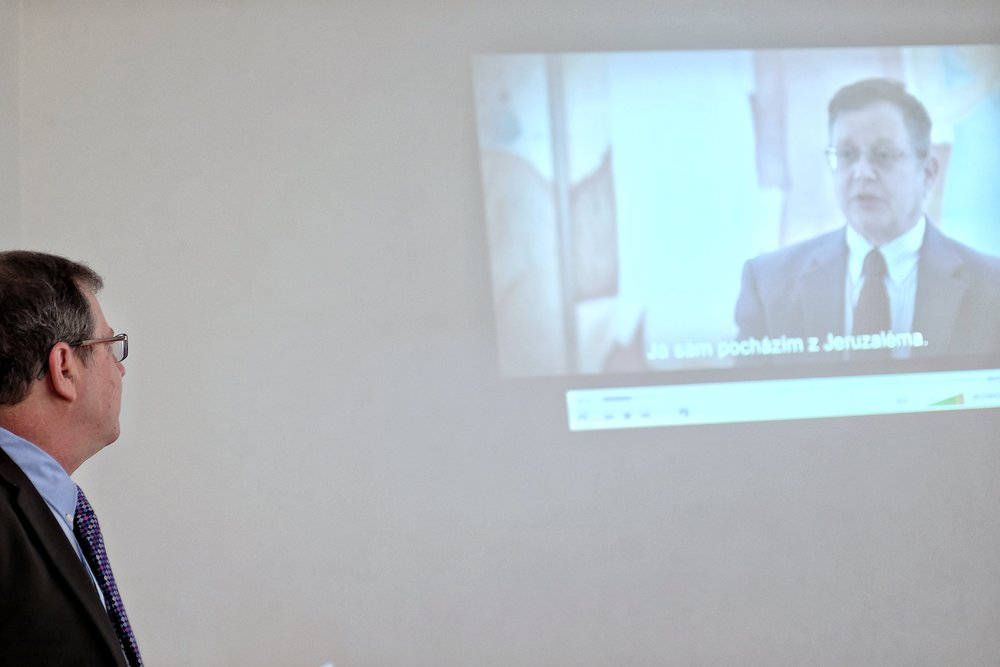 Daniel Meron, new Israeli ambassador to the Czech Republic, is watching himself in a film during a lecture at the Lauder School in Prague, December 2017.