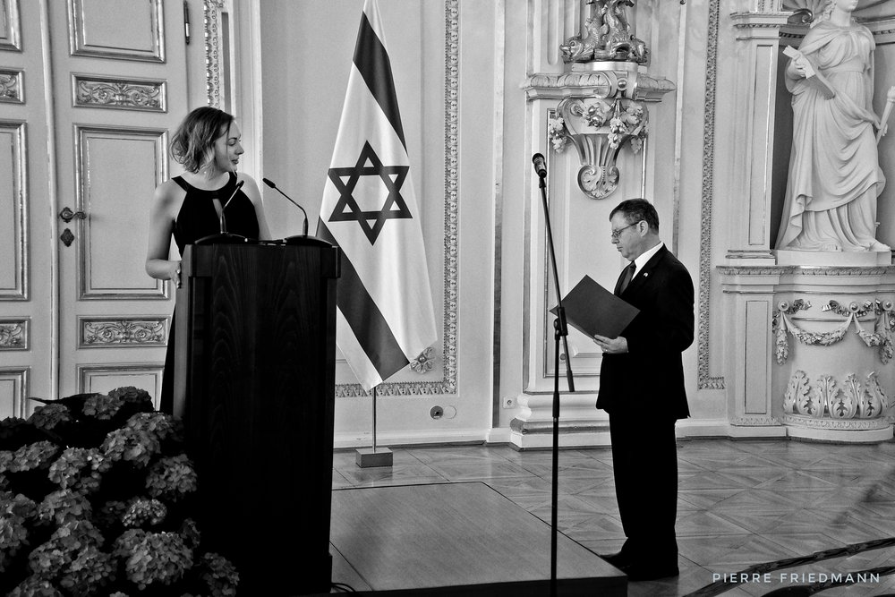 Israeli ambassador to the Czech Republic, Daniel Meron, prepares for his speech at Israel's 70th Independence Day celebration, hosted by Czech president Zeman, at the Spanish Hall of Prague Castle, 25.4.2018.