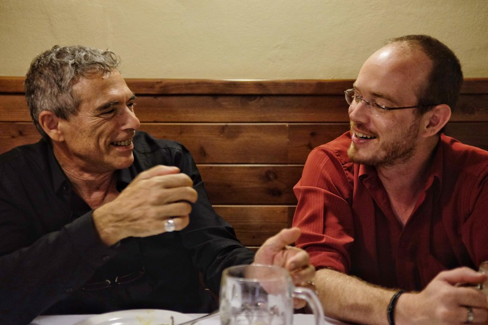 Israeli poet Amir Or (Left) and Guilliume Basset, dramaturgist for the Svět knihy International Book Fair in Prague and Plzeň, on the eve of the opening of the Plzeň fair, 2018.