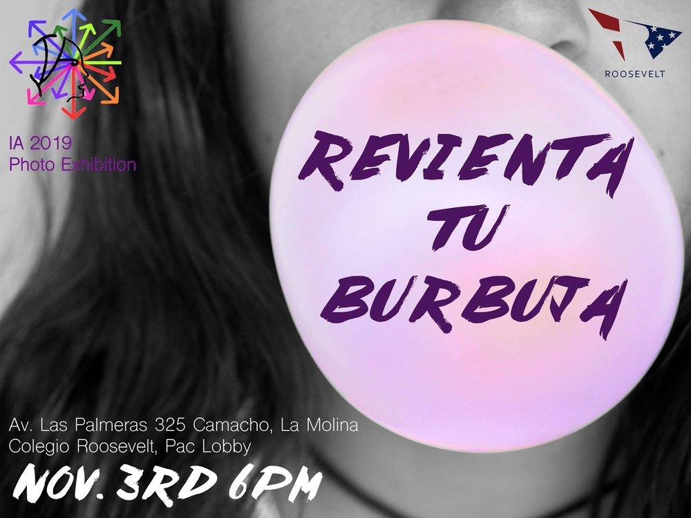 """Revienta tu burbuja""promotional poster."