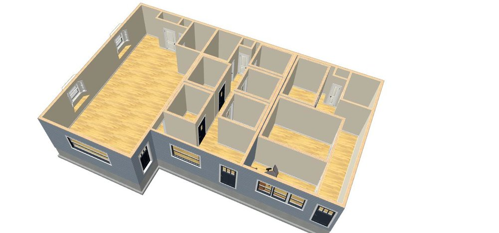 """Overhead layout view of St. John Music studios. Each """"quiet room"""" is brightly colored and individually air conditioned, exhaust-ventilated and video monitored. Another quiet room and recording studio are soon to be built in room 107."""