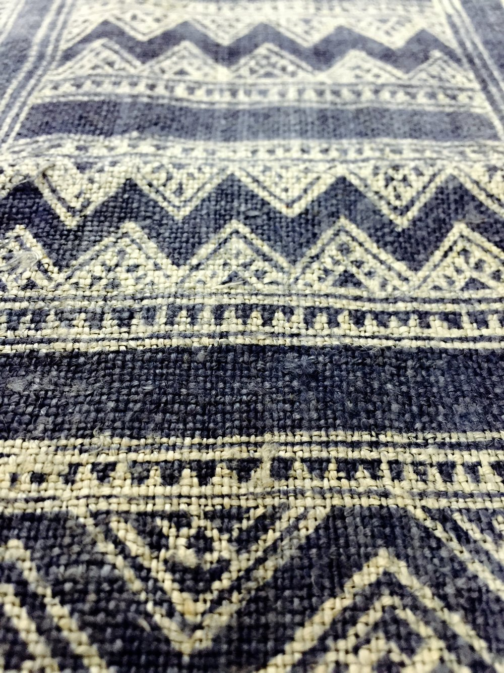 Hemp textile weave with applied batik designs of the Hmong ethnic group in Northern Laos, part of an initiative of Ock Pop Tok's  Village Weaver's Project  in Luang Prabang, Laos.